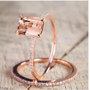 Jewelry - Rose Gold filled Morganite Gem Ring Sets